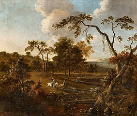 Landscape with Rolling Hills and a Stag Hunt