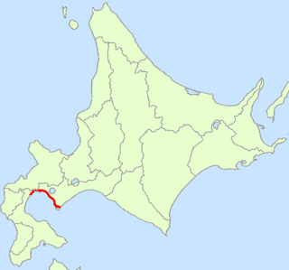 Japan National Route 37 road in Hokkaido, Japan