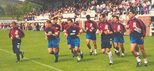 History of the Spain national football team - Javier Clemente and the Spain team in a training session.