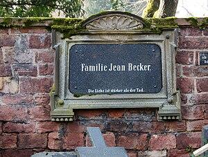 Jean Becker (violinist) - The grave in Mannheim