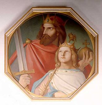 Arnulf of Carinthia - Arnulf of Carinthia and Louis the Child by Johann Jakob Jung (19th century).