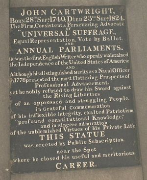 John Cartwright (political reformer) - Inscription from the Cartwright Gardens statue.