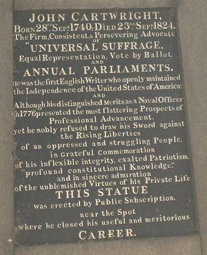 John Cartwright (political reformer) - Inscription from the Cartwright Gardens statue.