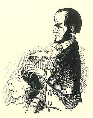 "History of alternative medicine - 1843 Punch magazine caricature depicting John Elliotson ""playing the brain"" of a working-class, mesmerised woman"