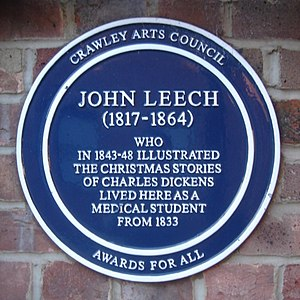Tree House, Crawley - Commemorative plaque recording John Leech's residence