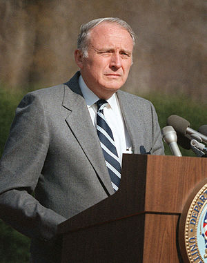 John Otho Marsh Jr. - Marsh speaking at a military funeral, 1985.