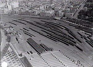 Jolimont Yard - Overhead view of the workshops and yard looking north west, in 1929.