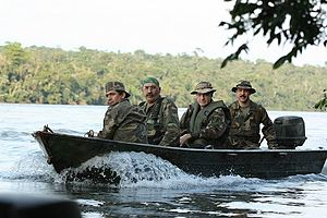 Park ranger - Park Rangers (guardaparques, in Spanish) patrolling in the Iguazú National Park in Argentina, in the border with Brazil and Paraguay