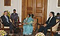 Jose Manuel Barroso and the Prime Minister of the Republic of Portugal, Mr. Jose Socrates are meeting with the President, Smt. Pratibha Devisingh Patil, in New Delhi on November 30, 2007.jpg