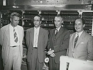 Julian Bigelow - Julian Bigelow at The Princeton Institute for Advanced Study (Left to right: Julian Bigelow, Herman Goldstine, J. Robert Oppenheimer, and John von Neumann).