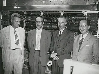 Herman Goldstine - Herman Goldstine at The Princeton Institute for Advanced Study (left to right: Julian Bigelow, Herman Goldstine, J. Robert Oppenheimer, and John von Neumann)