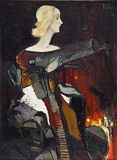 <i>Madonna with Machine Gun</i> painting by Kārlis Padegs
