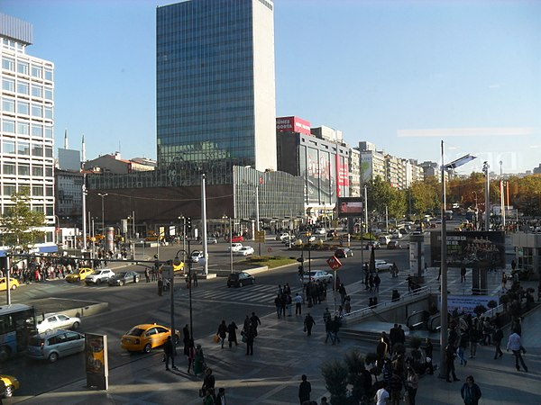 A view of Kizilay Square from the northwest, with the Kahramanlar Business Center (1959-1965). Kizilay Square in Ankara, Turkey.JPG