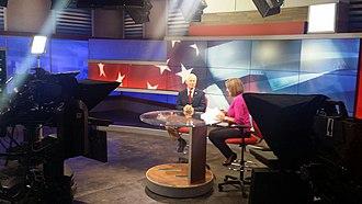 KATU - Debra Knapp of KATU on set interviewing Oregon Secretary of State Dennis Richardson.