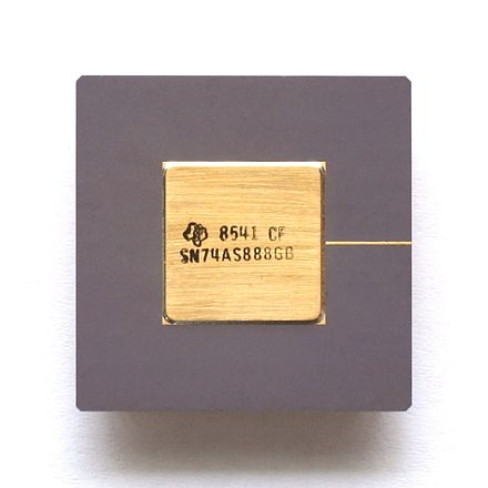 Part of the 7400 series: cascadable 8-bit ALU Texas Instruments SN74AS888 KL Texas Instruments ALU SN74AS888.jpg