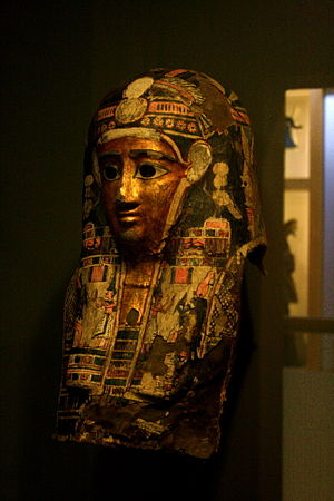 Kalamazoo Valley Museum - A sarcophagus in the mummy exhibit.