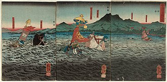 Yodo River - Kajiwara Kagesue, Sasaki Takatsuna, and Hatakeyama Shigetada racing to cross the Uji River before the second battle of Uji, as depicted in a print by Utagawa Kuniyoshi.