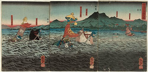 Kagesue, Takatsuna and Shigetada crossing the Uji river.jpg