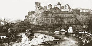 Kamianets-Podilskyi Castle - An old lithograph depicting the castle walls with a settlement underneath, which still exists today