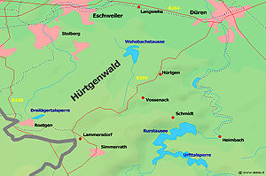 Battle of Hürtgen Forest - Map showing the area of the battle