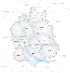 Canton of Zürich - Districts in the canton of Zürich