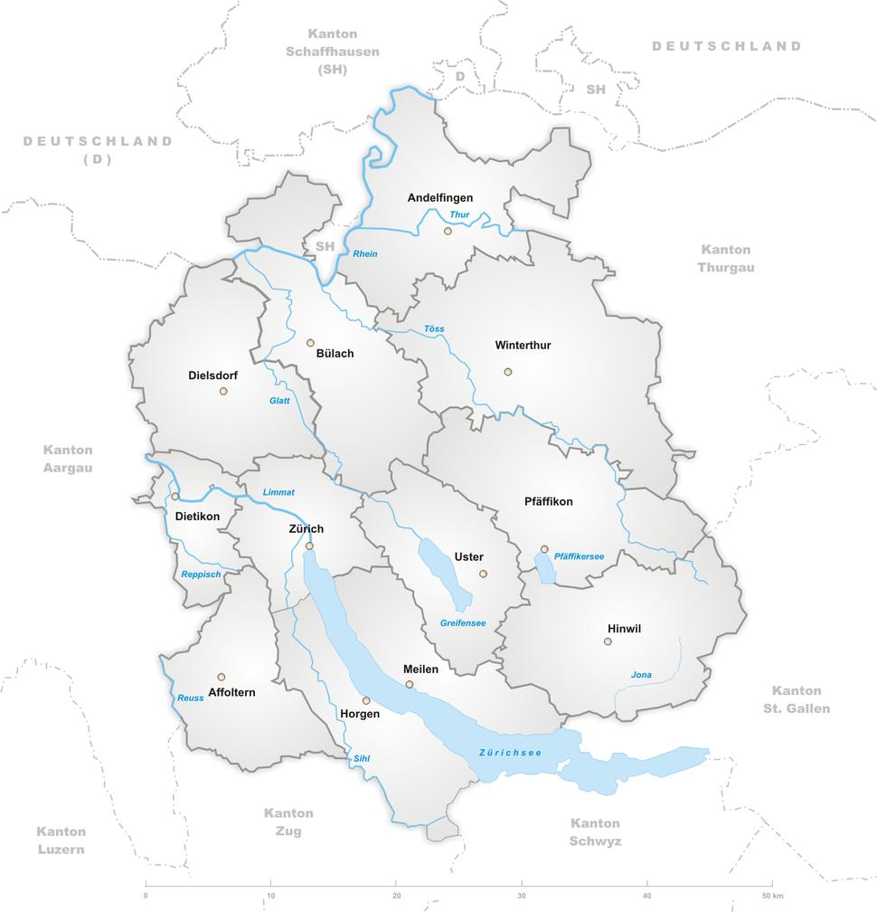 Karte Kanton Zürich Bezirke