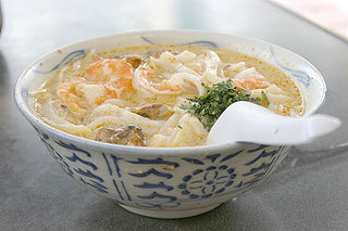 Laksa spicy, soup-based noodle dish from Indonesia and Southeast Asia