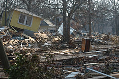 Hurricane Katrina pushed houses inland on Mississippi coast, including at Biloxi.