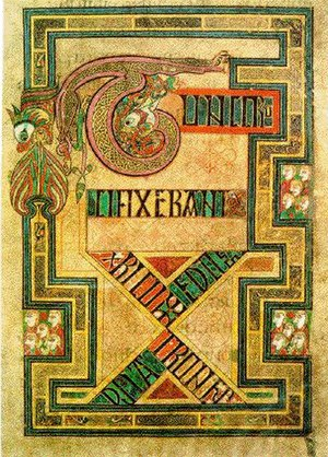 Irish art - Book of Kells, folio 124r, Tunc Crucixerant