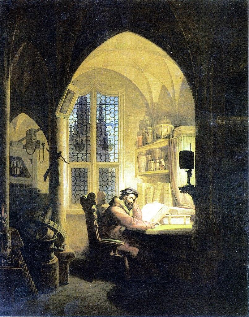 Faust dans son cabinet d'études d'après Georg Friedrich Kersting.