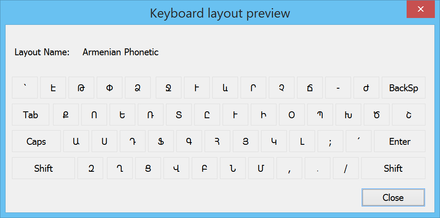 Armenian keyboard layout using the Armenian alphabet. Keyboard Layout Armenian.png