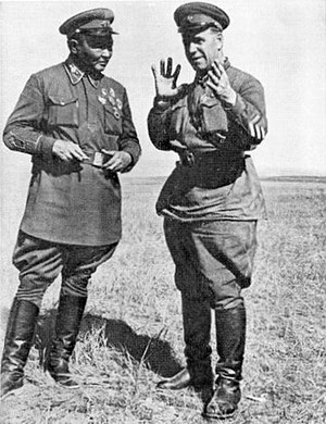 Mongolian People's Army - Georgy Zhukov and Khorloogiin Choibalsan (left) consult during the Battle of Khalkhin Gol