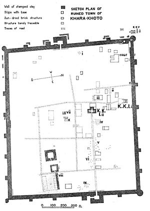 Khara-Khoto - Plan of Khara-Khoto, Aurel Stein expedition