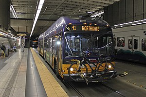 King County Metro - A King County Metro coach operating on Route 41, in the Downtown Seattle Transit Tunnel.