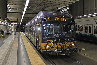 King County Metro - A King County Metro coach operating on Route 41, at University Street station in the Downtown Seattle Transit Tunnel.