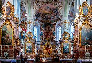 Andechs Abbey - Interior of SS Nicolaus and Elizabeth church, Andechs Abbey