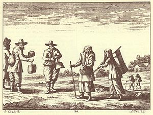 Gottscheers - Gottschee German peasants in an engraving from Johann Weikhard von Valvasor's work The Glory of the Duchy of Carniola, 17th century