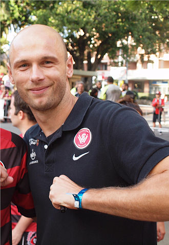 Dino Kresinger - Kresinger pumping the crest. An action that became synonymous with the Croatian amongst the fans during his time at the Western Sydney Wanderers.