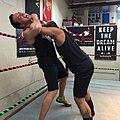 Kuba Ka practicing wrestling moves for pro wrestling tryout.jpg