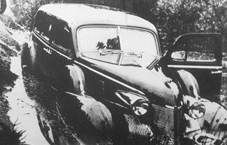 Kongens bil i grøften i Segeltorp under hjemrejse fra Toldgarns slot den 28 september 1946