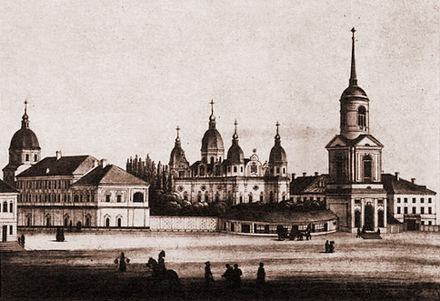 The Kiev Brotherhood compound included the Brotherhood Monastery and its religious school (later the Kiev Mohyla Academy) Kyiv-brats-monastyr.jpg