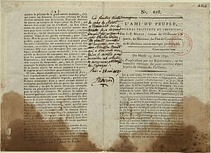 History of French journalism - A copy of L'Ami du peuple stained with the blood of Marat