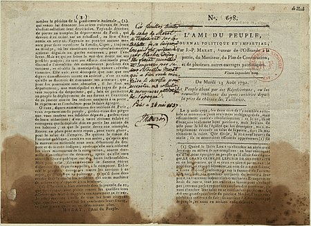 A copy of L'Ami du peuple stained with the blood of Marat L'Ami du peuple 1.jpg