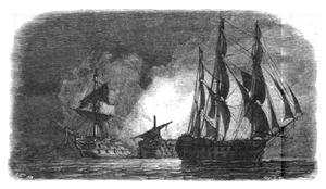 Second Battle of Algeciras - HMS Superb sails unnoticed off the Spanish fleet at Algeciras Bay, while the Hermenegildo and Real Carlos explode in the background after mistakenly firing on one other. Drawing by Antoine Léon Morel-Fatio.