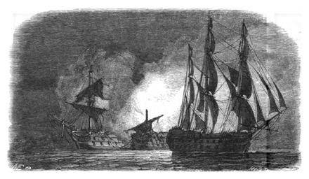 HMS Superb sails unnoticed off the Spanish fleet at Algeciras Bay, while the Hermenegildo and Real Carlos explode in the background after mistakenly firing on one other. Drawing by Antoine Leon Morel-Fatio. La Marine-Pacini-118.png