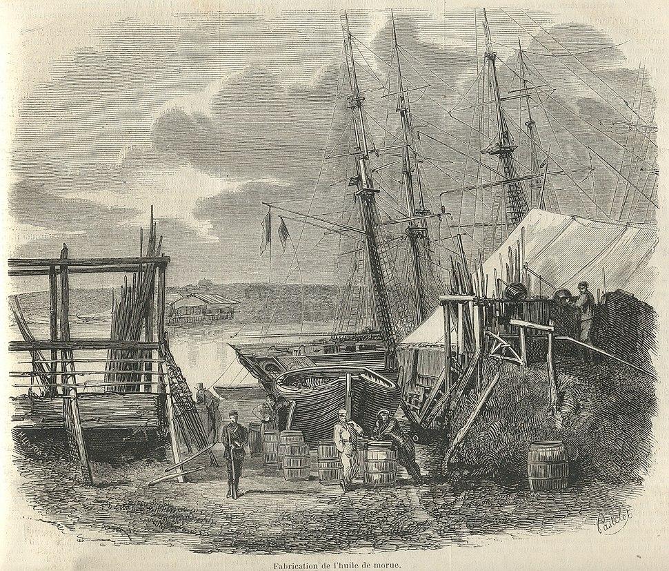 La pêche de la morue à Terre-Neuve en 1858-fabrication de l'huile de morue
