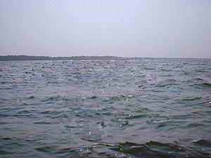 Lake Wawasee - Lake Wawasee at mid morning toward the west shore