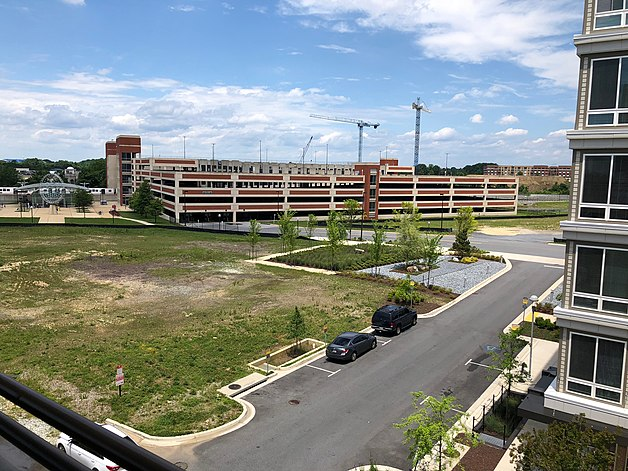 Largo Metro Center Station as seen from the Apollo Ascend Apartments, with construction of the New Prince Georges County Regional Medical Center in the background.