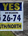 Lawn sign supporting 1998 ballot measure for TriMet's then-planned South-North MAX project (cropped1).jpg