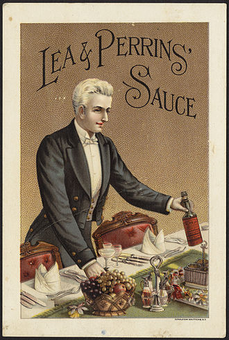 Lea & Perrins - American trade card for the sauce, about 1870 - 1900, showing the orange label as discussed.